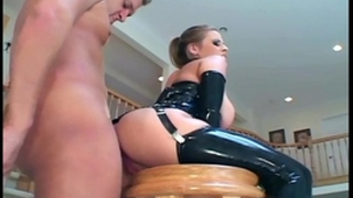 Ponytailed blond in latex gloves and nylons