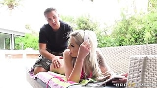 Blonde damsel rides Keiran's juicy cock with her asshole