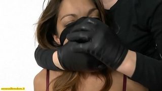 Jessica in servitude is handsmothered and strangled by a woman in stocking mask