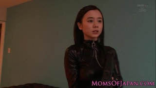 Costumed oriental mommy in catsuit facialized