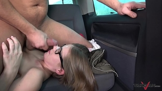 Small glassed student acquire ride of her fantasies with knob in vagina