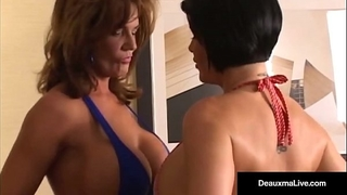 Mega milf deauxma vs cali diva shay fox in a booby showdown!