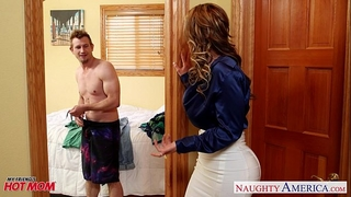 Nasty mommy eva notty fucking rod with her breasts